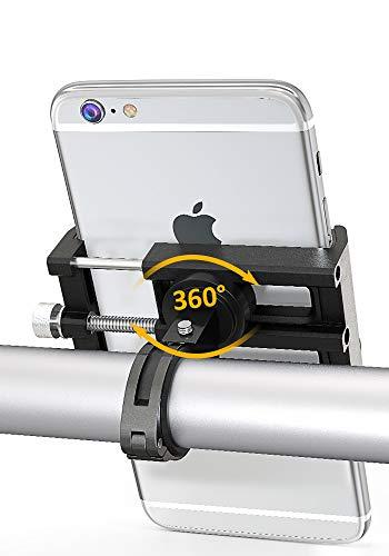 Bike Phone Mount, Bovon 360°Rotation Aluminum Alloy Bicycle Phone Holder, Universal Motorcycle Handlebar Rack Fits iPhone X, 8/8 Plus, 7, 6/6s Plus, Galaxy S9/S9 Plus, S8/S8 Plus, 3.5