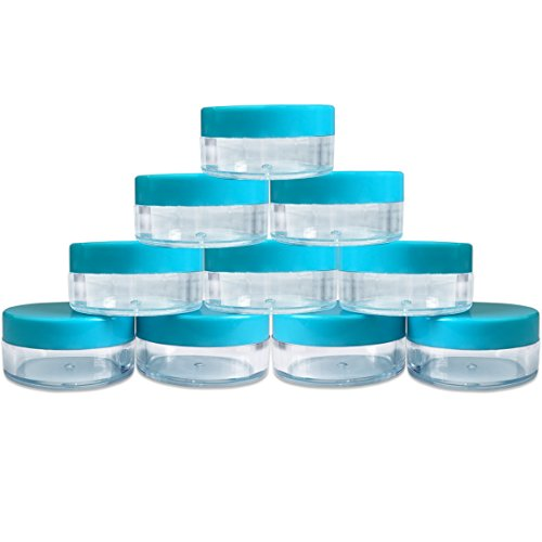 (Quantity: 10 Pieces) Beauticom 10G/10ML Round Clear Jars with TEAL Sky Blue Lids for Makeup, Lotion, Creams, Eyeshadow, Cosmetic Product Samples - BPA Free