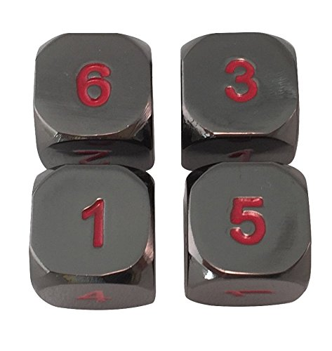 Smoke and Fire (Black and red)- Solid Metal Polyhedral Dice Six Sided (D6) RPG Dice- Set of 4 for MTG Counters and RPGs ()