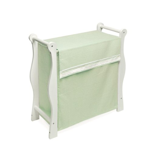 - Badger Basket White Wood Sleigh Style Hamper - Sage Waffle