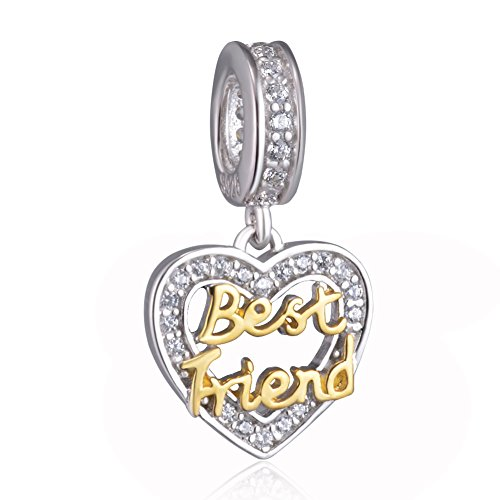 Best Friend Heart Dangle Charm Beads 925 Sterling Silver Fit for Pandora...