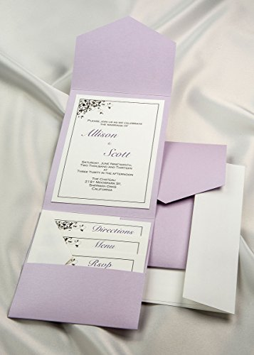 All-in-One Pocket Invitation Kit - Lavender Elegance All-in-One Pocket Invitation - Lavender Invitation Card - Pack of ()