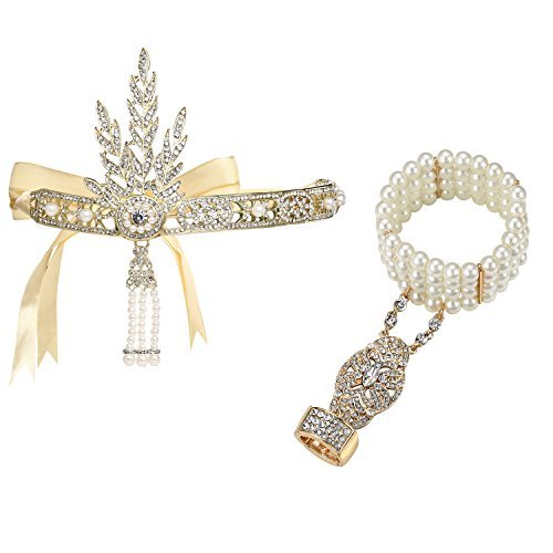 [BABEYOND Bling Golden-Tone The Great Gatsby Inspired Leaf Simulated Pearl 1920s Flapper Headband and Bracelet Adjustable Ring Set] (Daisy Great Gatsby Dress)