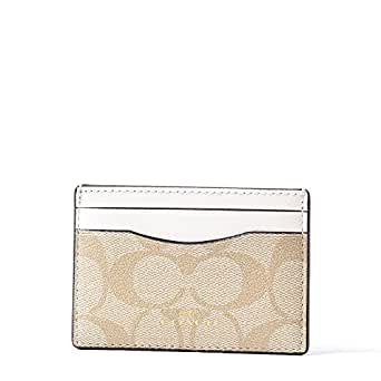 Coach Signature PVC Card Case Light Khaki Chalk 63279
