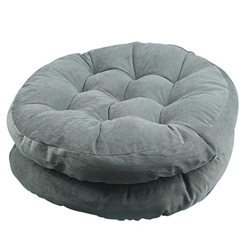 Solid Papasan Patio Seat Cushion Round Chair Pad Home Floor Cushion 22 Inch Set of 2 Throw Pillows Indoor/Outdoor Grey ()