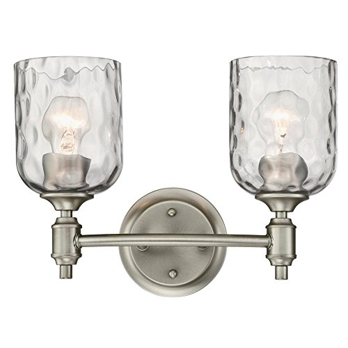 g 6326500 Basset Two-Light Indoor Wall Fixture, Dark Pewter Finish with Smoke Grey Hammered Glass, 2 ()