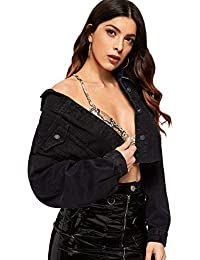 Women's Casual Drop Shoulder Ripped Crop Denim Jacket
