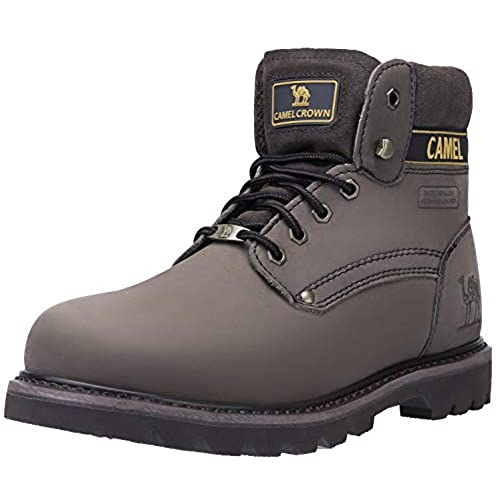 "CAMEL CROWN Men's 6"" Plain Soft-Toe Work Boots Premium Oil Full Grain Leather"