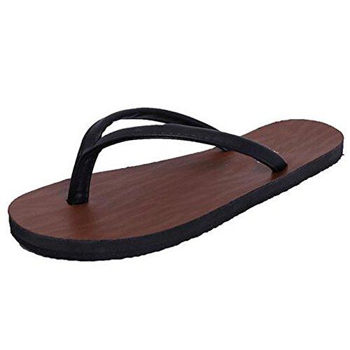 Angelliu Simple Style Pu Cuir Flats T-strap Pantoufles Tongs Tongs Sandales Noir