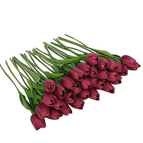 Mikilon 20 pcs Real-Touch Artificial Tulip Fake Flowers Bouquet Home Wedding Party Decor (Wine Red)