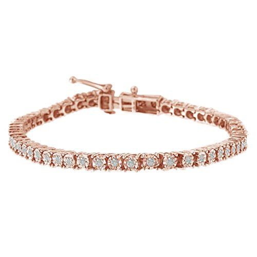 Original Classics Rose Plated Sterling Silver Rose-Cut Diamond Tennis Bracelet (1 cttw, I-J Color, I3 Clarity) - Gold Diamond Fashion Bracelet