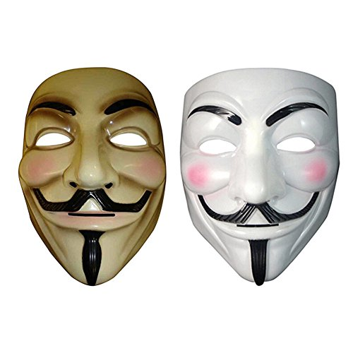 2 Pcs Vendetta Mask Guy Anonymous Halloween Masks Fancy Realistic Used For Masquerade Party,carnivals,halloween,costume Party Eye-catching When You On The Creative Look For Unisex
