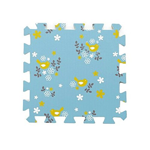 Birds Interlocking Foam Tiles EVA Foam Floor Mats (8.64Sqft, 9 Tiles, Blue) (Tile Superstore)