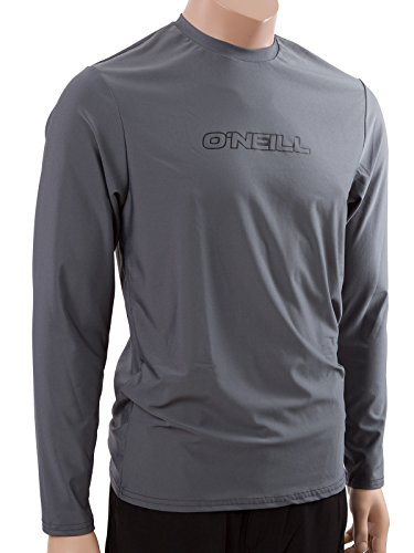 O'Neill Wetsuits Men's Basic Skins UPF 50+ Long Sleeve Sun Shirt, Smoke, - Mens Wetsuits