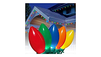 LED C9 Christmas Ultra Bright LED Light Set with Multi-Colors and Bulb, 100 Count
