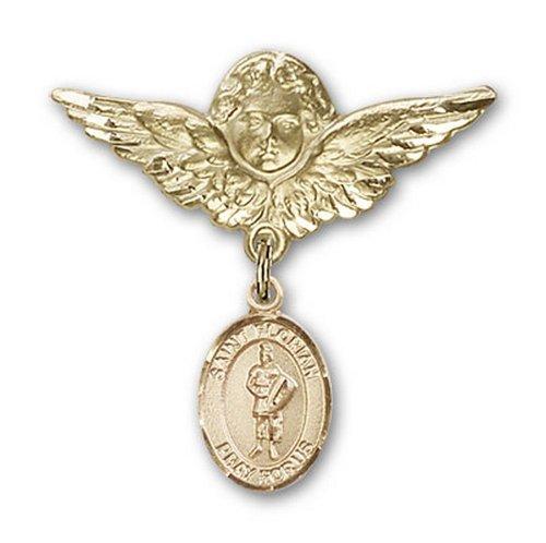 Icecarats Or Bijoux De Créateurs Rempli R. Broches Badge Florian Charme D'Ange 1 1/8 X 1 1/8
