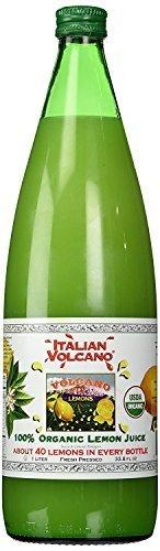 (Volcano Bursts Organic Italian 100% Organic Lemon Juice In Glass Bottle, 33.8 oz | Pack of 1)