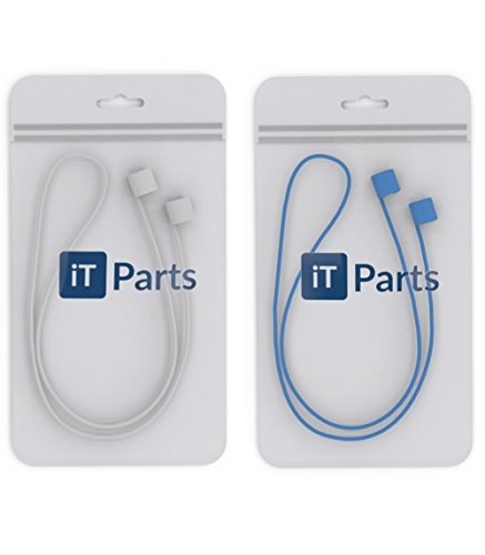 iTParts Airpods Strap Never Lose Your AirPods - Glow In The Dark iPhone 7 / 7 Plus Air Pods Sports Strap Wire Cable Connector For Apple AirPods, 2 Pack [White + Blue]