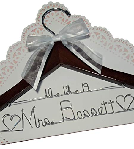 Bride Wedding Dress Hanger - Dark Wood or White Wood Hanger With Notches in Hanger Choice of 12 Bow Colors - Personalized Bride Name Silver Wire - With or Without Wedding Date, Bride Bridesmaid Gift ()