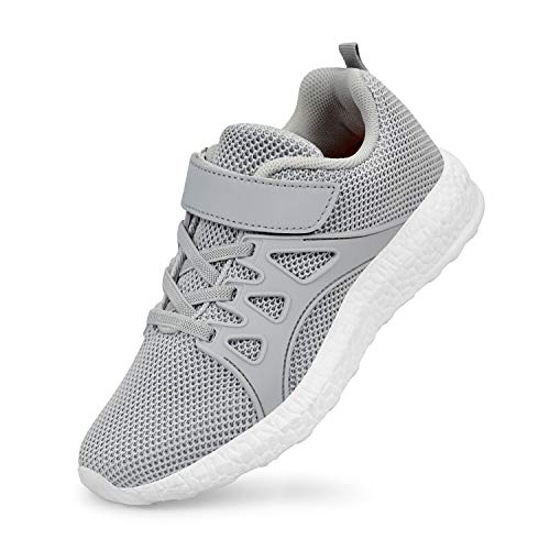 SouthBrothers Kids Shoes Knitted Mesh Tennis Walking Running Athletic Shoes Gray Size 2 Little Kid
