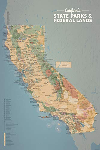 - Best Maps Ever California State Parks & Federal Lands Map 24x36 Poster (Camel & Slate Blue)