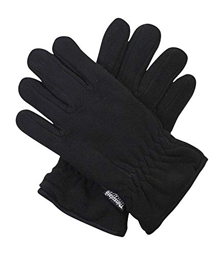 (Black 40g Thermal Insulation Polar Fleece Winter Gloves - One Size Fits Al)