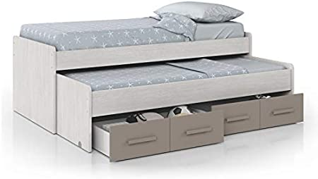 Maravillosa cama nido juvenil con dos cajones en la parte inferior. No necesita somieres, ya que los