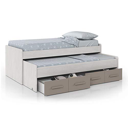 Habitdesign – lit Double pour Enfant 2 Lits et 2 tiroirs, Dimensions 198 x 69 x 96 cm de Fond