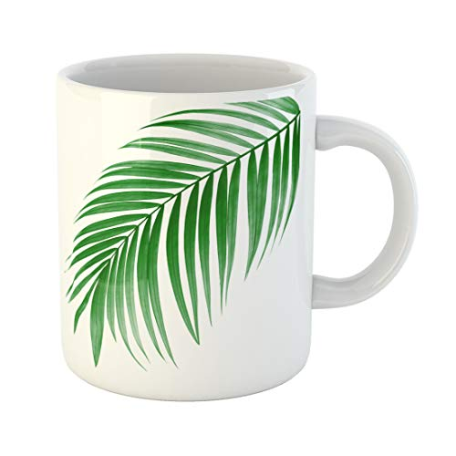 Emvency Funny Coffee Mug Tropical Green Leaf of Palm Tree on White Plant Foliage Frond Arch Bend Betel Botany 11 Oz Ceramic Coffee Mug Tea Cup Best Gift Or Souvenir