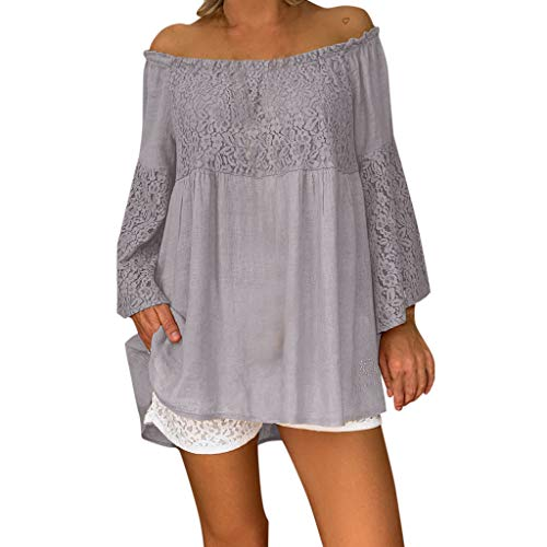 Gopeak  Women Summer Sunscreen Long Sleeve Shirts Plus Size T Shirt Loose Off Shoulder Solid Lace Patchwork Top Blouse -