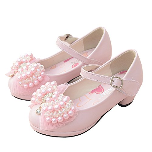 (Chic Girls Mary Janes Wedding Party Bridesmaids Shoe Low Heels Princess Dress Shoes-(Pink-11 M US Little)