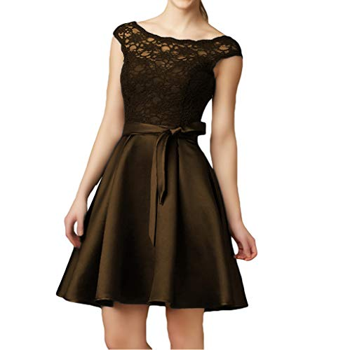 Short Prom Neck Vintage Women Cocktail Bridesmaid Dress Gowns Boat Brown Lace Dreagel 17nx8dZp1