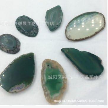 S-TROUBLE - Rodajas de ágata Natural con Piedras pulidas de Cristal de Brasil, Verde