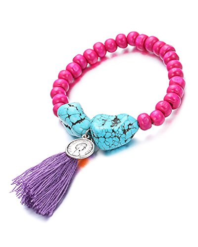 Young & Forever Women's Valentine Diwali Pink Beadaholoc Purple Tassel Stone Bracelet by Young & Forever