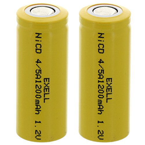 2x Exell 4/5A 1.2V 1200mAh NiCD Flat Top Rechargeable Batteries for mobile phones, pagers, medical instruments/equipment, electric tools and toys, electric razors, toothbrushes, meters, radios