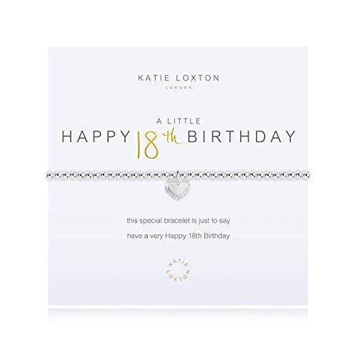 Katie Loxton A Little Happy 18th Birthday Silver Women's Stretch Adjustable Charm Bangle Bracelet