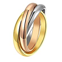 UM Jewelry Silver,Gold Rose,Gold Three Tone Women Interlocked Tri Rolling Rings,2mm Each Plain Bands