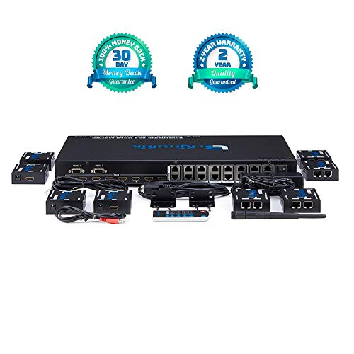 Brightlink Matrix Switcher A/V Distribution Systems (Brightlink 8x8 HDMI AV Matrix Set Over Cat6 with 8 Receivers | Full HD 1080P, 3D, Supports HDCP | WiFi App Control)