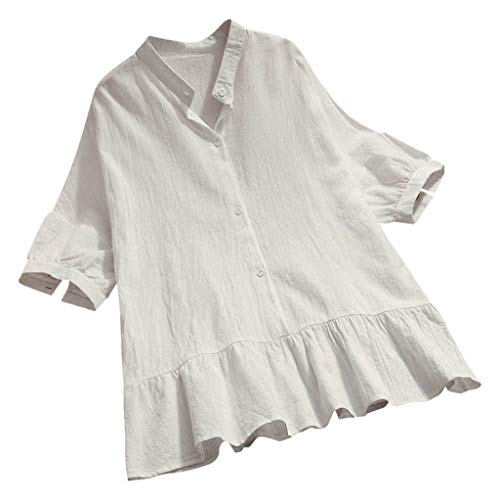 Tantisy ♣↭♣ Women's Button-Down Henley Shirt Cotton Linen Ruffled Hem Summer Loose Casual Tunic Blouse White