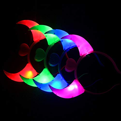 TOYMYTOY Light up Headband LED Devil Horns - Neon Party Supplies, Pack of 12 ()