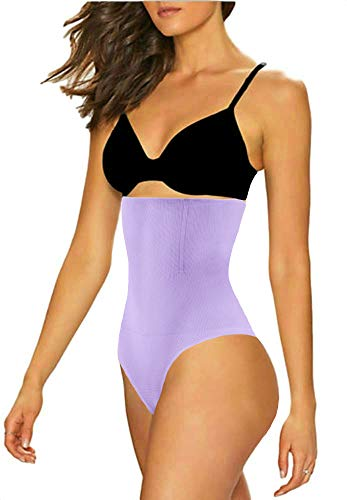 ShaperQueen 102 Best Womens Waist Cincher Body Shaper Trimmer Trainer Slimmer Girdle Faja Bodysuit Short Tummy Belly Control Brief Corset Plus Size Underwear Shapewear Thong (XL, Light Purple)