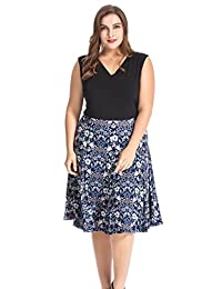 Chicwe Women's Floral Popover Plus Size Skater Dress 1X-4X