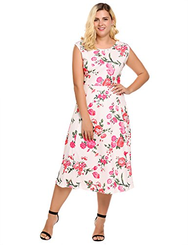 Womens Plus Size Sleeveless Scoop Neck Fit and Flare Maxi Dress - Involand Ladies Long Pleated Swing Sundress (Spring Dress Plus Size Women)