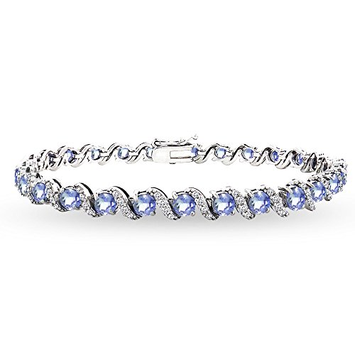 Sterling Silver Tanzanite 4mm Round-Cut S Design Tennis Bracelet with White Topaz Accents by GemStar USA