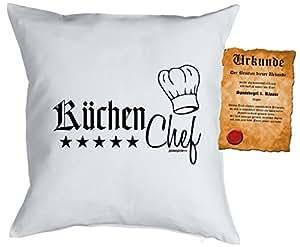 genialer almohada/funda de cojín con Diversión pájaro de escrituras: Cocina Chef