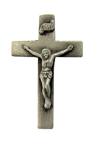 Fine Pewter Religious Crucufix Cross Lapel Pin Pendant, 1 1/2 Inch Crucifix Pin