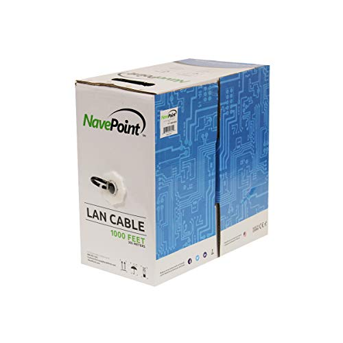 NavePoint CAT5e (CCA), 1000ft, Black, Solid Bulk Ethernet Cable, 24AWG 4 Pair, Unshielded Twisted Pair (UTP)