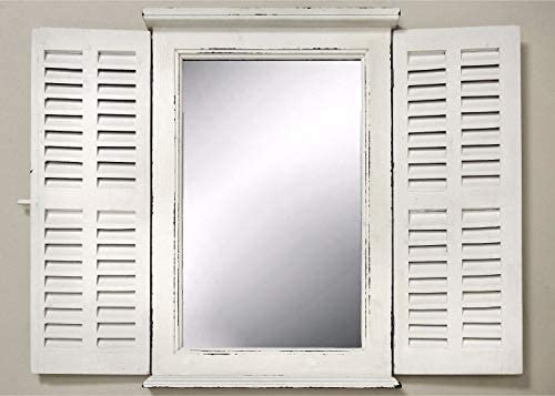 madera dise/ño retro Espejo con puertas