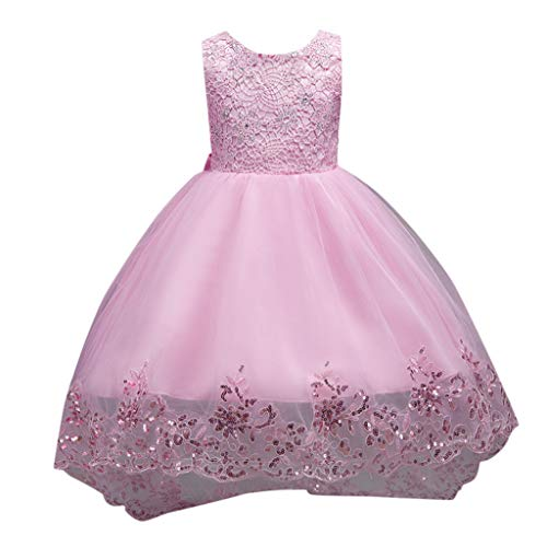 - 0-10Y Child Kid Baby Girls Sleeveless Floral Embroidered Bow Tulle Dresses Canonicals Elegant Rhinestone Full Formal Dresses (Pink, 4-5 Years)
