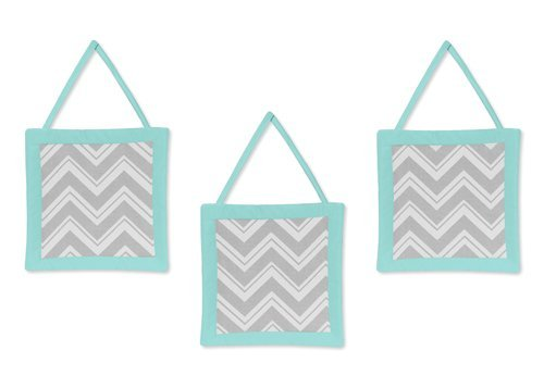 (Turquoise and Gray Chevron Zig Zag Wall Hanging Accessories by Sweet Jojo Designs)